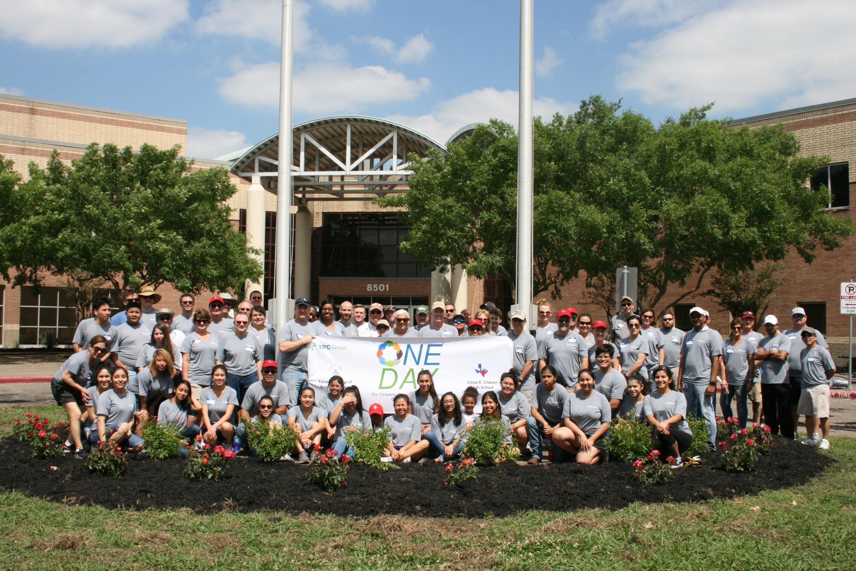 Volunteers at Cesar E. Chavez High School, in Houston, Texas