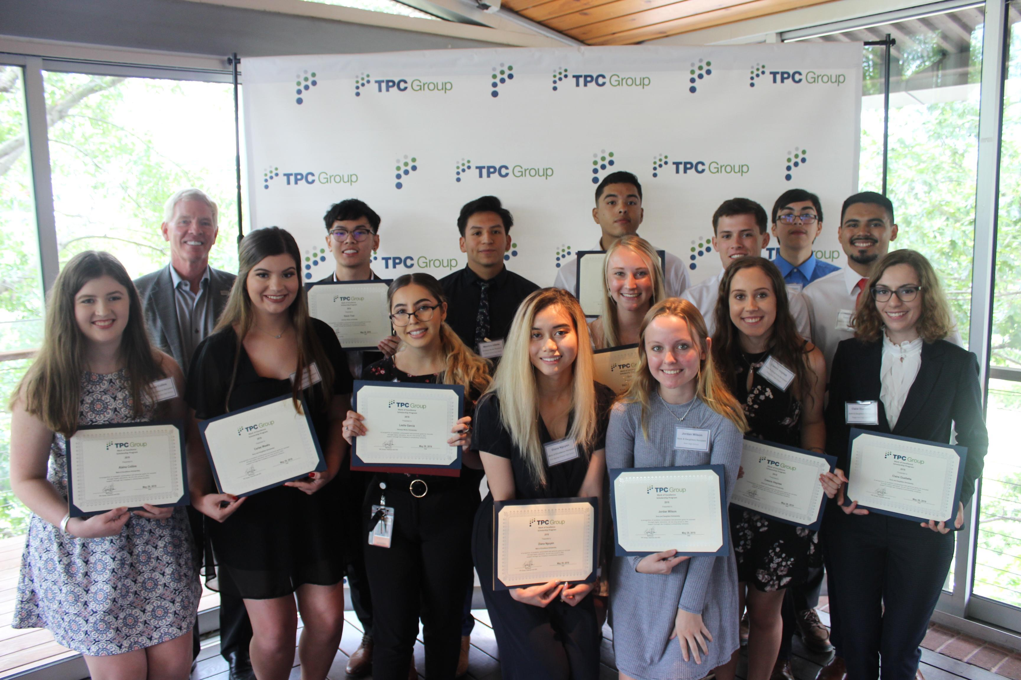 TPC Group President & CEO Ed Dineen Pictured with 2019 Scholarship Recipients